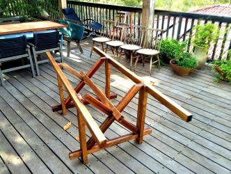 יגאל לפידות - שולחן נגרים הטמעת 3 קורות האורך השקועות